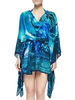 GOTTEX Kaftan Dress NWT Floral Blue Multi 100% SILK Cover-Up Belted Small