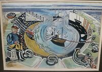 CUBIST HARBOUR SCENE BY EDWARD MORGAN - ARTIST AND ILLUSTRATOR