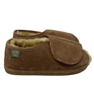 Cloud Nine Medical Sheepskin Adjustable Strap Brown Slippers L 11-12/ M 9-10