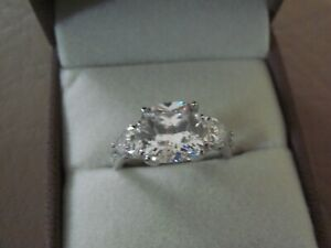 NEW QVC Michelle Mone 4.1ct Diamonique Set Sterling Silver Ring  Size N