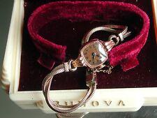 1940's Ladies Art Deco 14K Bulova Rose Gold Watch ~ Bulova Case ~ Runs