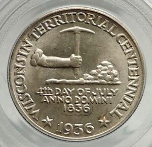 1936 WISCONSIN Black Hawk War COMMEMORATIVE Silver Half Dollar Coin PCGS i76460