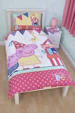 PEPPA PIG FUNFAIR SINGLE PANEL DUVET QUILT COVER KIDS REVERSIBLE BEDDING SET