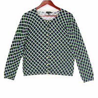 Talbots Women's Blue Cross Lattice Pattern Cardigan Sweater - Size Large Petite