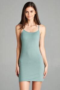Tank Top Cami Mini Dress Short Active Basic Spaghetti Straps S/M/L Free Ship