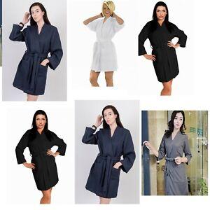 Ladies Short Waffle Dressing Gown Nightwear Bath robe Hotel Quality 100% Cotton