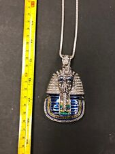 Lined King Tut Pendants Men's Silver Plated Cz