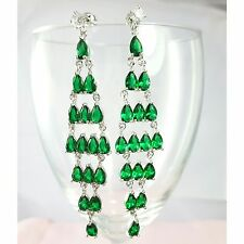 Green Crystal Statement Long Earrings Drop Dangle Studs White Gold Plated UK