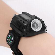 Tactical USB Rechargeable Sport LED Waterproof Wrist Watch Lamp Flashlight US