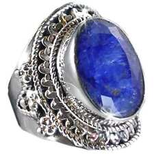 GENUINE BLUE SAPPHIRE_UNIQUE SWIRL HAND TOOLED RING_SZ-10_925 STERLING SILVER-NF