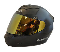 LS2 FF352 ROOKIE FULL FACE MOTORCYCLE CRASH HELMET BLACK WITH GOLD IRIDIUM VISOR