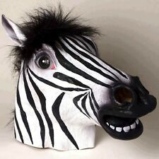Zebra Mask Black & White Full Over The Head Latex Animal Mask With Hair