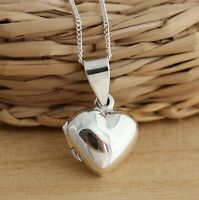 925 Sterling Silver Puffed Heart Photo Locket Pendant Necklace Gift Box