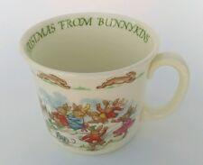 Royal Doulton BUNNYKINS Merry Christmas winter snow fun scene Cocoa / Coffee mug