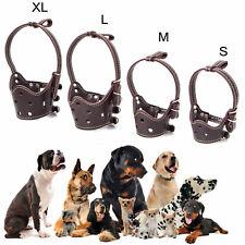 Dog Anti-Bark Bite Leather Muzzle for Small Large Adjustable Pet Dog Muzzles
