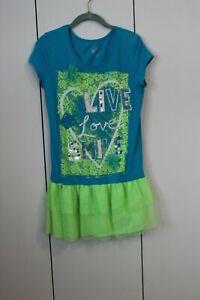 euc Justice aqua  Live Love tulle skirt dress  girl Size 20 free ship USA