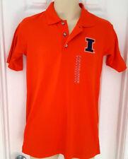 ILLINOIS FIGHTING ILLINI Polo Shirt Size Adult Small Embroidered Logo Orange New