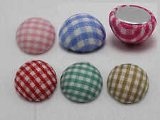 50 Mixed Color Flatback Grid Fabric Covered Button 15mm Round Half Ball Cabochon