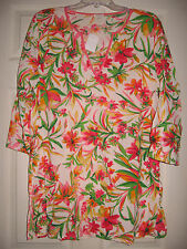 J CREW Floral Tropical Tissue Cotton Tunic Shirt Blouse Swim Coverup XXL 2XL