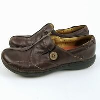 Clarks Unstructured Women Leather Loafer Slip On Shoes 6.5 M Brown Split Toe
