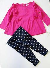 Ralph Lauren Baby Girls Ruffled Jersey Top & Polka Dot Leggings Set Sz 9M - NWT