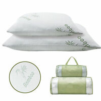 Bamboo Memory Foam Bed Pillow Queen/King Size Hypoallergenic w/Carry Bag BU