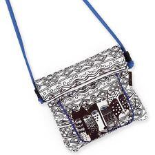 Laurel Burch Wild Cat Black White Small Purse Flap Over Crossbody Tote Handbag