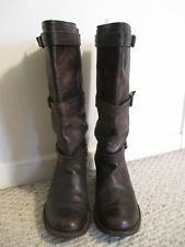 FRYE Carmen 3 Strap Brown Leather Riding Boots 77851  Size 9