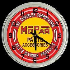 """16"""" MOPAR Parts Accessories Sign Red Neon Clock Man Cave Garage"""
