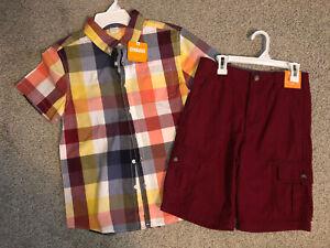 NWT Gymboree Boy's Size 10 12 Plaid Shirt Cargo Shorts Outfit Burgundy