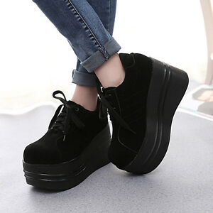 Punk Women's Lace Up Round Toe Gothic Wedge Heel Platform Creeper Shoes Pumps