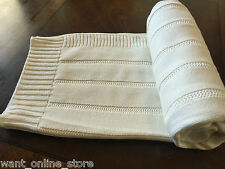 BNWT Rochdale Boutique 100% Pure Cotton Knit Baby Blanket Shawl Natural Cream