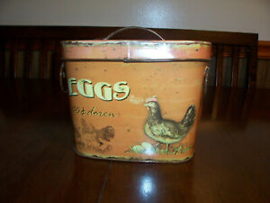 Creative Co-op decorative tin Farm Fresh Eggs with lid vintage look