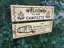 Custom Carved Family Name Sign Camping Sign Cedar Rv Sign Outdoors Wooden Sign