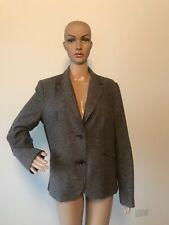 Liz Claiborne Metallic Gold & Brown Wool Blazer Jacket Suit Coat Elbow Patches L