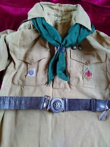 Vintage 1950's Boy Scout Uniform Khaki Colour Shirt, green scarf & leather belt