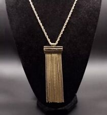 Haute Couture Gold Pendant Tassel Fringe Runway Long Necklace Trendy Jewelry