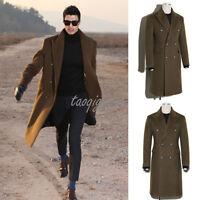 TOP Design Men's Trench Long Coat Wool Blend Windbreaker Double-breasted Jacket