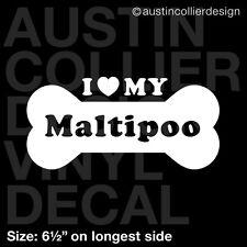 "6.5"" MALTIPOO vinyl decal car window laptop sticker - dog breed rescue"