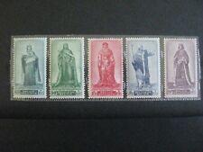 timbres belges : les princes du Moyen-Age 1947 COB n° 751 à 755 **