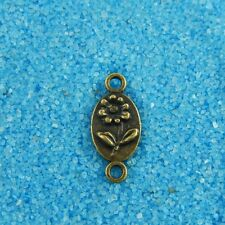 50X Antiqued Style Bronze ToneOval Flower Connector Findings Charms 9*7*1mm