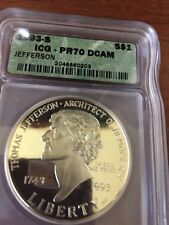 1993-S $1 Thomas Jefferson IGC PR70 DCAM Commemorative Silver Dollar Coin $450