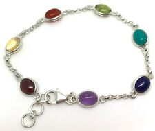 Multistone chakra bracelet, solid Sterling Silver, New, oval cabochon, gift box.