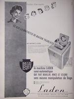 PUBLICITÉ DE PRESSE 1951 MACHINE A LAVER LADEN SEMI-AUTOMATIQUE - ADVERTISING