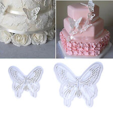 2pcs Butterfly Fondant Cake Plunger Cutter Mold Stamp Decorating Baking Tools