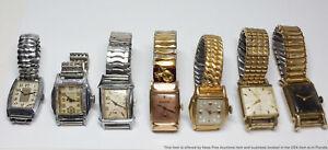 Lot of 7 Art Deco Vintage Mens Wrist Watches Elgin Wittnauer Bulova Benrus
