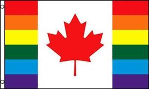 CANADA RAINBOW STRIPES PRIDE 3 X 5 FLAG 3x5 decor banner FL644 SIGN gay Canadian