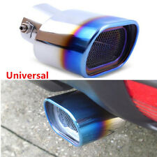 1xCar Truck Stainless Steel Grilled Tail Muffler Exhaust Pipe Tip Cover DIY Blue