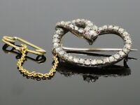 Rare Victorian c1900 Serpent Snake 1.7CTW Diamond 9K Gold Brooch Pin 6.5g