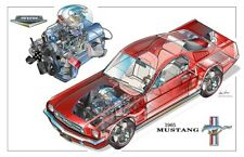 Ford Mustang 289 High Performance 1965 Cutaway Drawing Brochure Poster A3